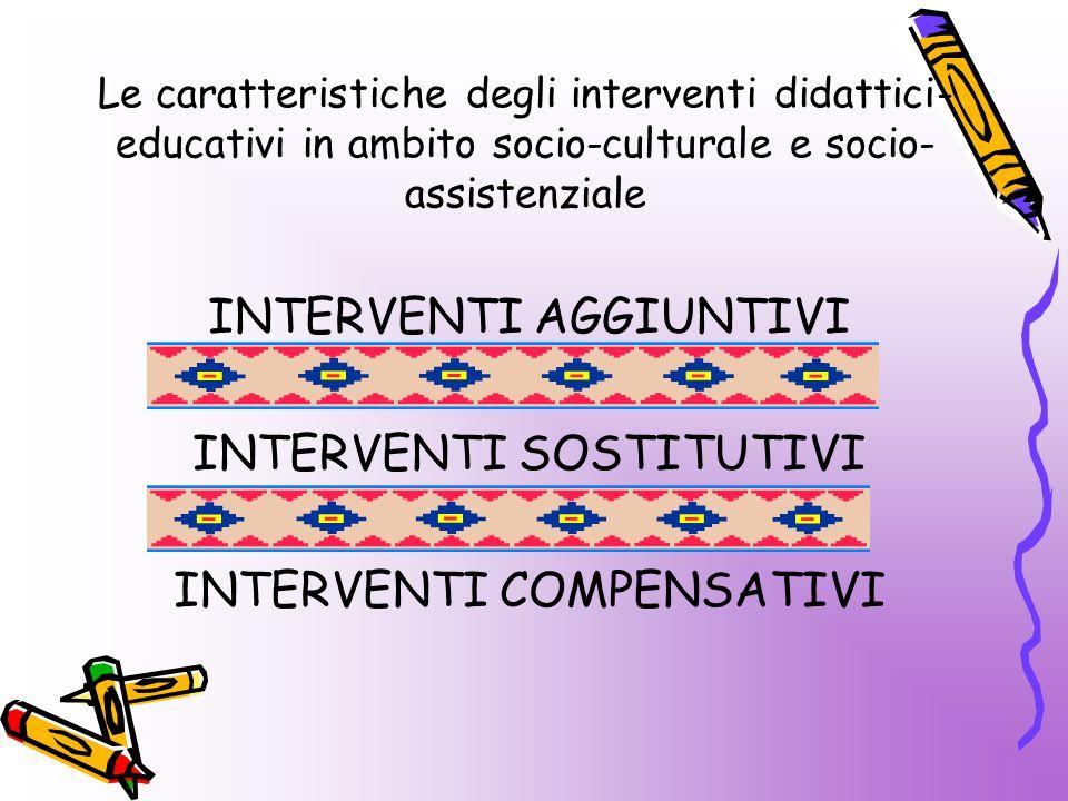 Le caratteristiche degli interventi didattici- educativi in ambito socio-culturale e socio- assistenziale INTERVENTI AGGIUNTIVI INTERVENTI SOSTITUTIVI INTERVENTI COMPENSATIVI