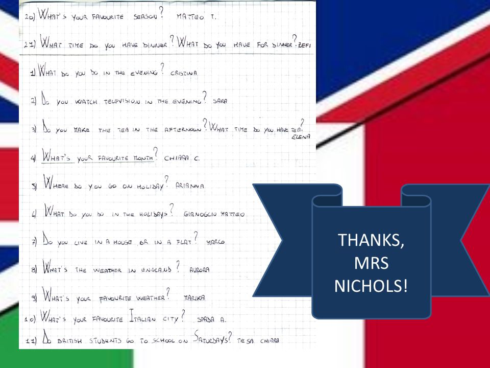 THANKS, MRS NICHOLS!