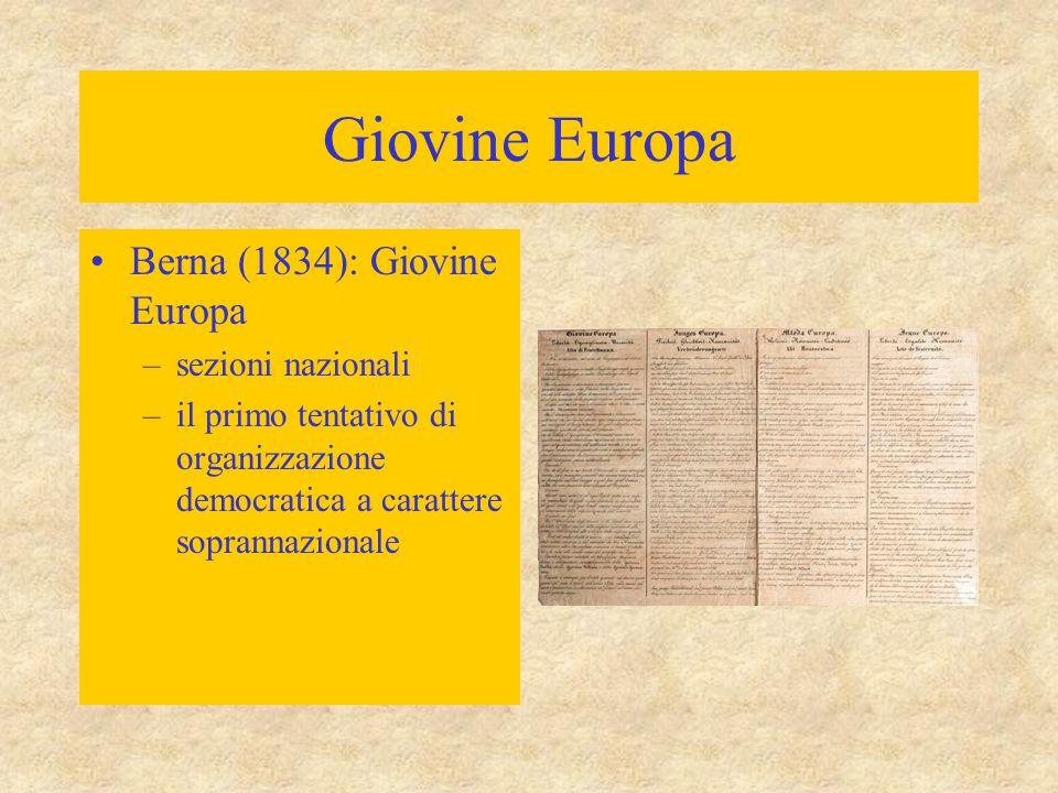 Giovine Europa Berna (1834): Giovine Europa –sezioni nazionali –il primo tentativo di organizzazione democratica a carattere soprannazionale