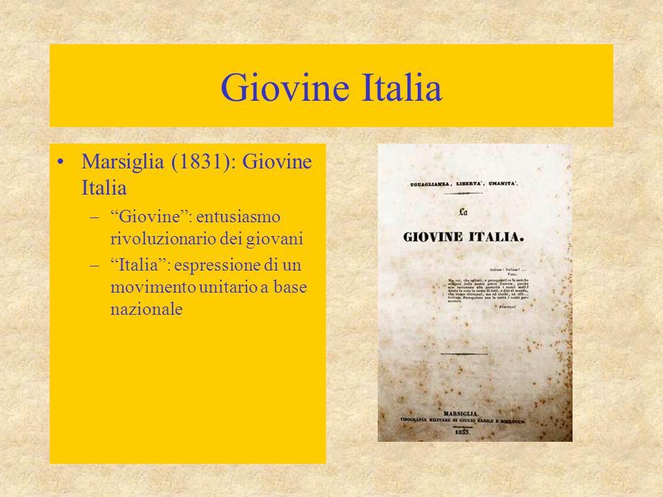 Giovine Italia Marsiglia (1831): Giovine Italia – Giovine : entusiasmo rivoluzionario dei giovani – Italia : espressione di un movimento unitario a base nazionale