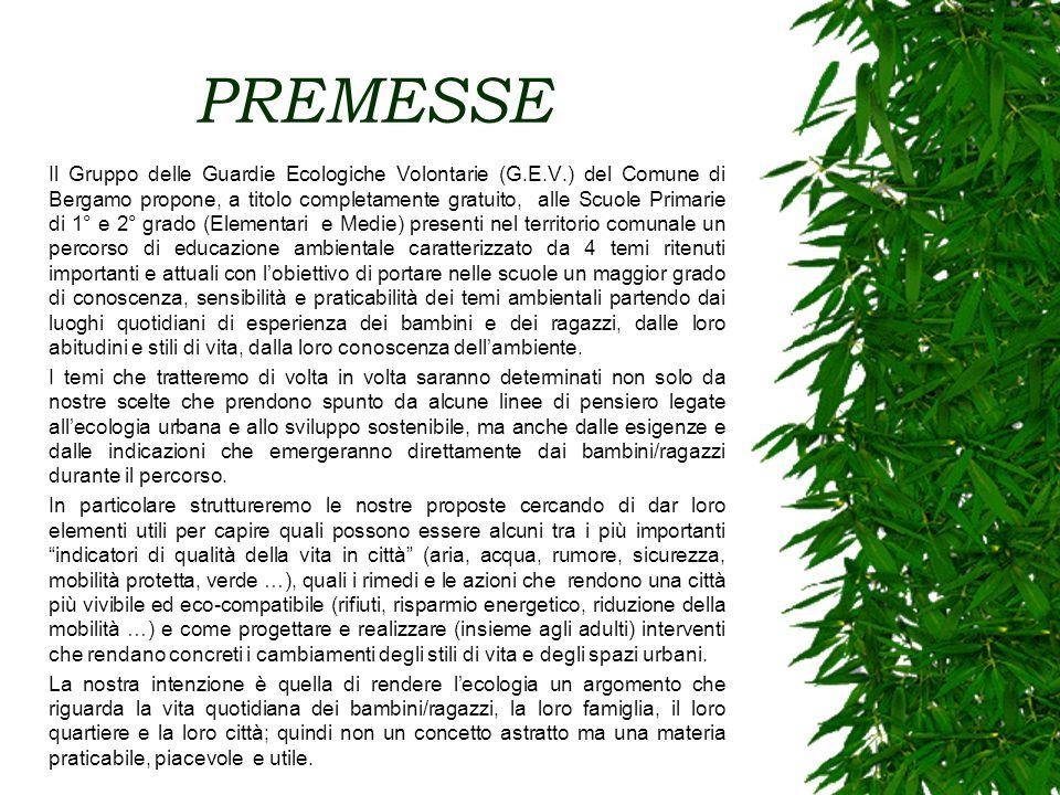 PREMESSE Il Gruppo delle Guardie Ecologiche Volontarie (G.E.V.) del Comune di Bergamo propone, a titolo completamente gratuito, alle Scuole Primarie d
