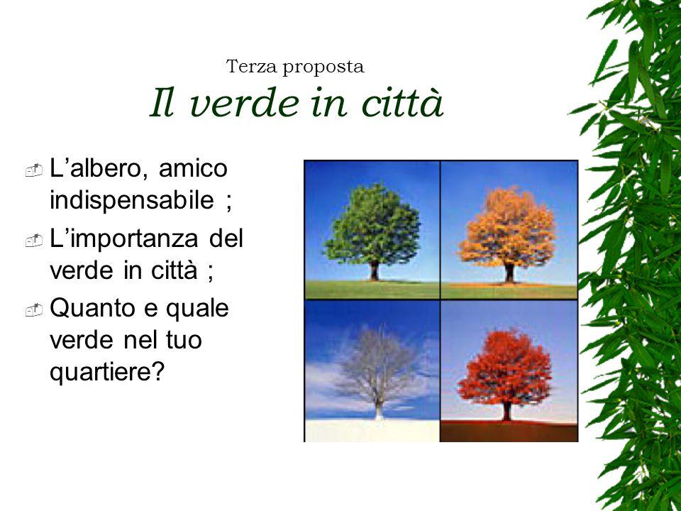 Terza proposta Il verde in città  L'albero, amico indispensabile ;  L'importanza del verde in città ;  Quanto e quale verde nel tuo quartiere?