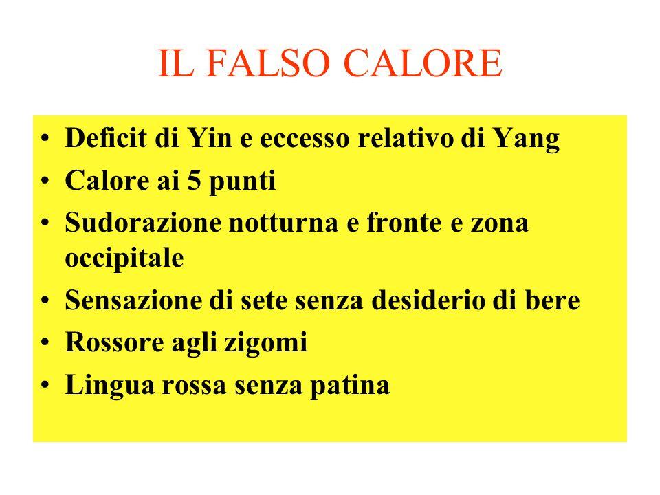 IL FALSO CALORE Deficit di Yin e eccesso relativo di Yang Calore ai 5 punti Sudorazione notturna e fronte e zona occipitale Sensazione di sete senza d