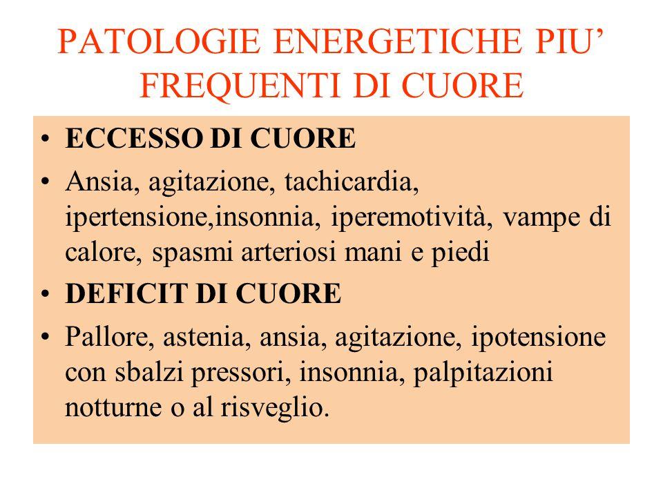 PATOLOGIE ENERGETICHE PIU' FREQUENTI DI CUORE ECCESSO DI CUORE Ansia, agitazione, tachicardia, ipertensione,insonnia, iperemotività, vampe di calore,