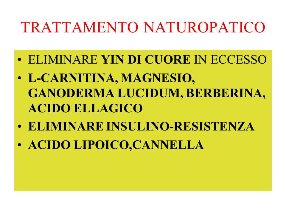 TRATTAMENTO NATUROPATICO ELIMINARE YIN DI CUORE IN ECCESSO L-CARNITINA, MAGNESIO, GANODERMA LUCIDUM, BERBERINA, ACIDO ELLAGICO ELIMINARE INSULINO-RESI