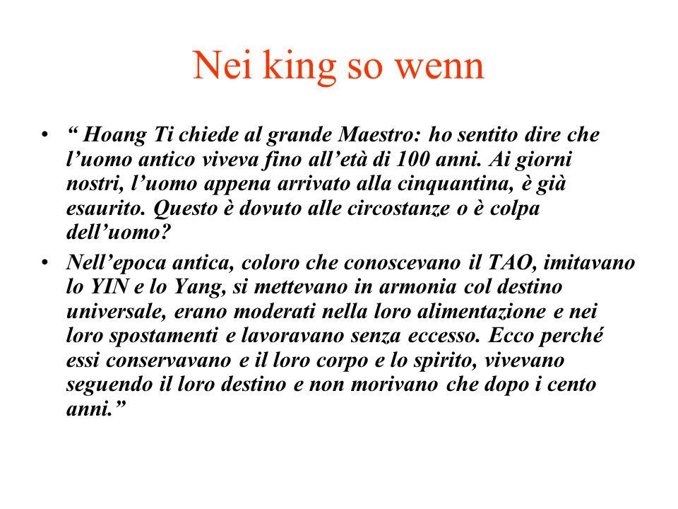 """Nei king so wenn """" Hoang Ti chiede al grande Maestro: ho sentito dire che l'uomo antico viveva fino all'età di 100 anni. Ai giorni nostri, l'uomo appe"""
