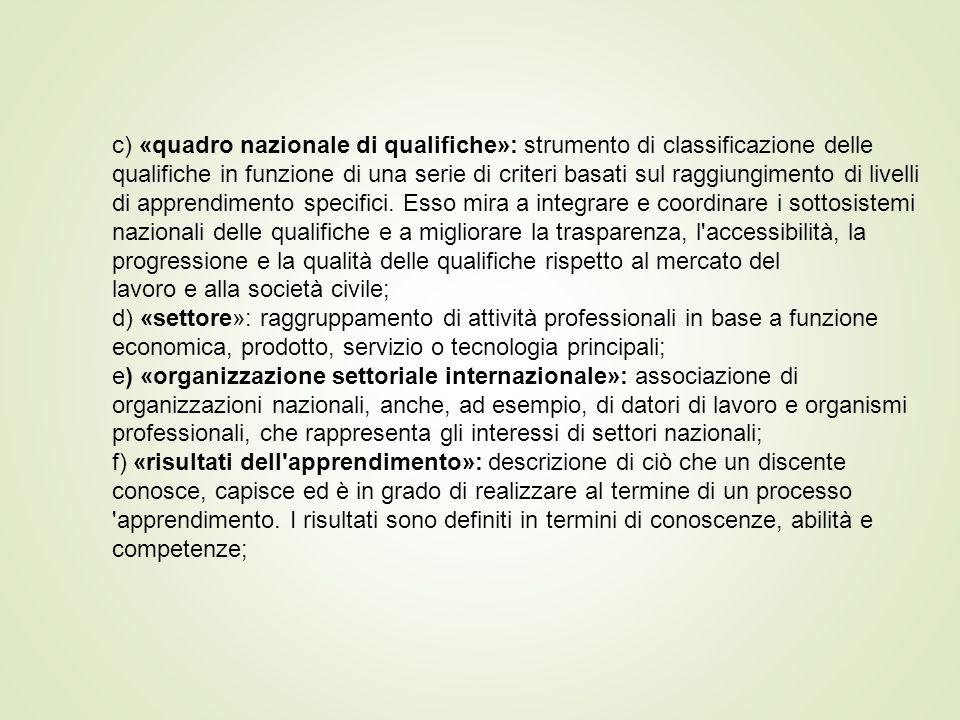 c) «quadro nazionale di qualifiche»: strumento di classificazione delle qualifiche in funzione di una serie di criteri basati sul raggiungimento di livelli di apprendimento specifici.