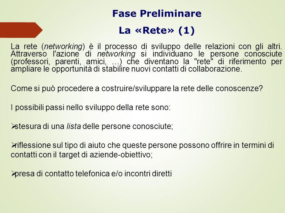 Fase Preliminare La «Rete» (1) La rete (networking) è il processo di sviluppo delle relazioni con gli altri.
