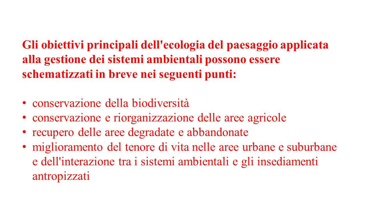 Gli obiettivi principali dell'ecologia del paesaggio applicata alla gestione dei sistemi ambientali possono essere schematizzati in breve nei seguenti
