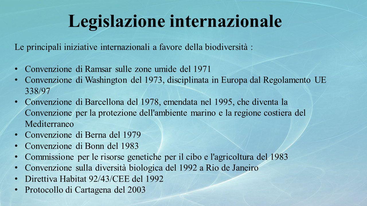 Le principali iniziative internazionali a favore della biodiversità : Convenzione di Ramsar sulle zone umide del 1971 Convenzione di Washington del 19