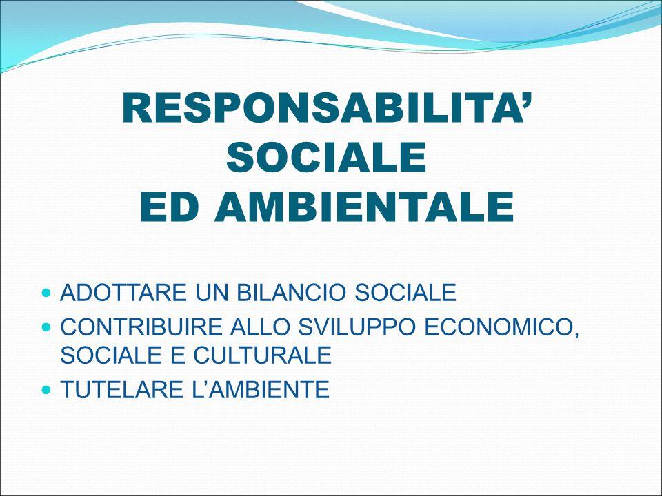 RESPONSABILITA' SOCIALE ED AMBIENTALE ADOTTARE UN BILANCIO SOCIALE CONTRIBUIRE ALLO SVILUPPO ECONOMICO, SOCIALE E CULTURALE TUTELARE L'AMBIENTE