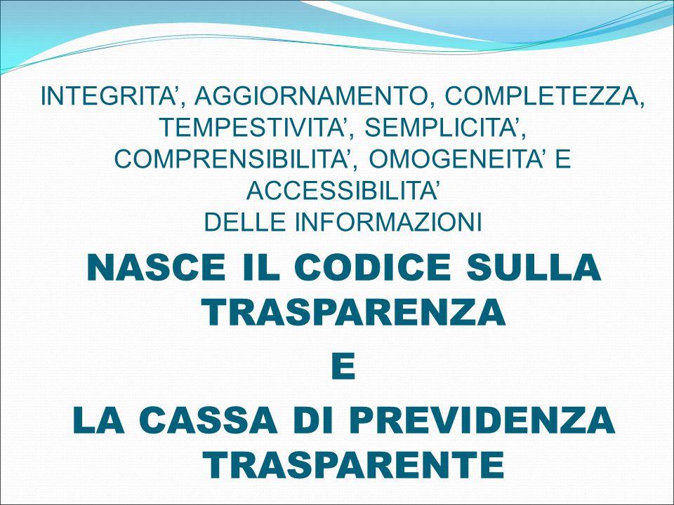 INTEGRITA', AGGIORNAMENTO, COMPLETEZZA, TEMPESTIVITA', SEMPLICITA', COMPRENSIBILITA', OMOGENEITA' E ACCESSIBILITA' DELLE INFORMAZIONI NASCE IL CODICE SULLA TRASPARENZA E LA CASSA DI PREVIDENZA TRASPARENTE