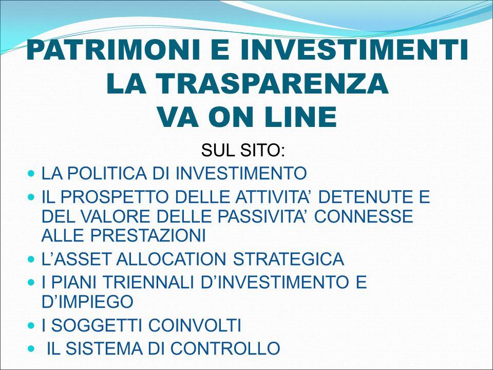 PATRIMONI E INVESTIMENTI LA TRASPARENZA VA ON LINE SUL SITO: LA POLITICA DI INVESTIMENTO IL PROSPETTO DELLE ATTIVITA' DETENUTE E DEL VALORE DELLE PASSIVITA' CONNESSE ALLE PRESTAZIONI L'ASSET ALLOCATION STRATEGICA I PIANI TRIENNALI D'INVESTIMENTO E D'IMPIEGO I SOGGETTI COINVOLTI IL SISTEMA DI CONTROLLO