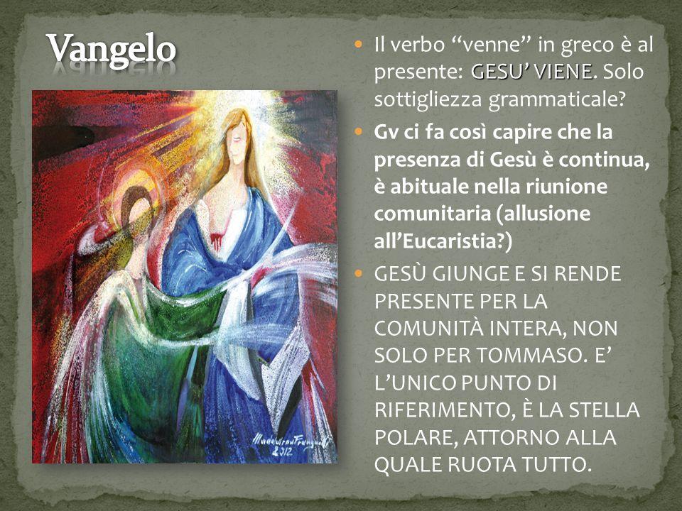 """GESU' VIENE Il verbo """"venne"""" in greco è al presente: GESU' VIENE. Solo sottigliezza grammaticale? Gv ci fa così capire che la presenza di Gesù è conti"""