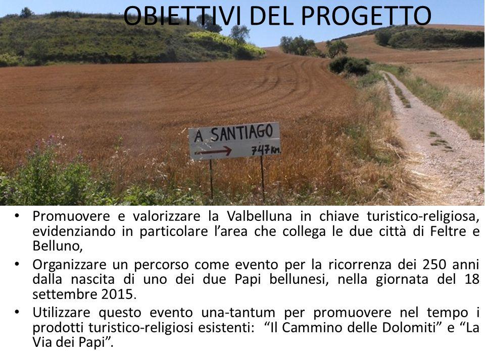 OBIETTIVI DEL PROGETTO Promuovere e valorizzare la Valbelluna in chiave turistico-religiosa, evidenziando in particolare l'area che collega le due cit