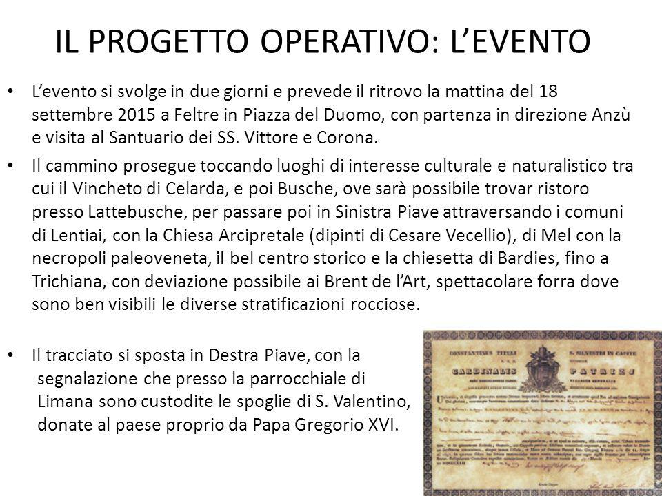 IL PROGETTO OPERATIVO: L'EVENTO L'evento si svolge in due giorni e prevede il ritrovo la mattina del 18 settembre 2015 a Feltre in Piazza del Duomo, c