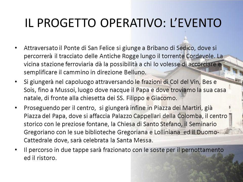 IL PROGETTO OPERATIVO: L'EVENTO Attraversato il Ponte di San Felice si giunge a Bribano di Sedico, dove si percorrerà il tracciato delle Antiche Rogge
