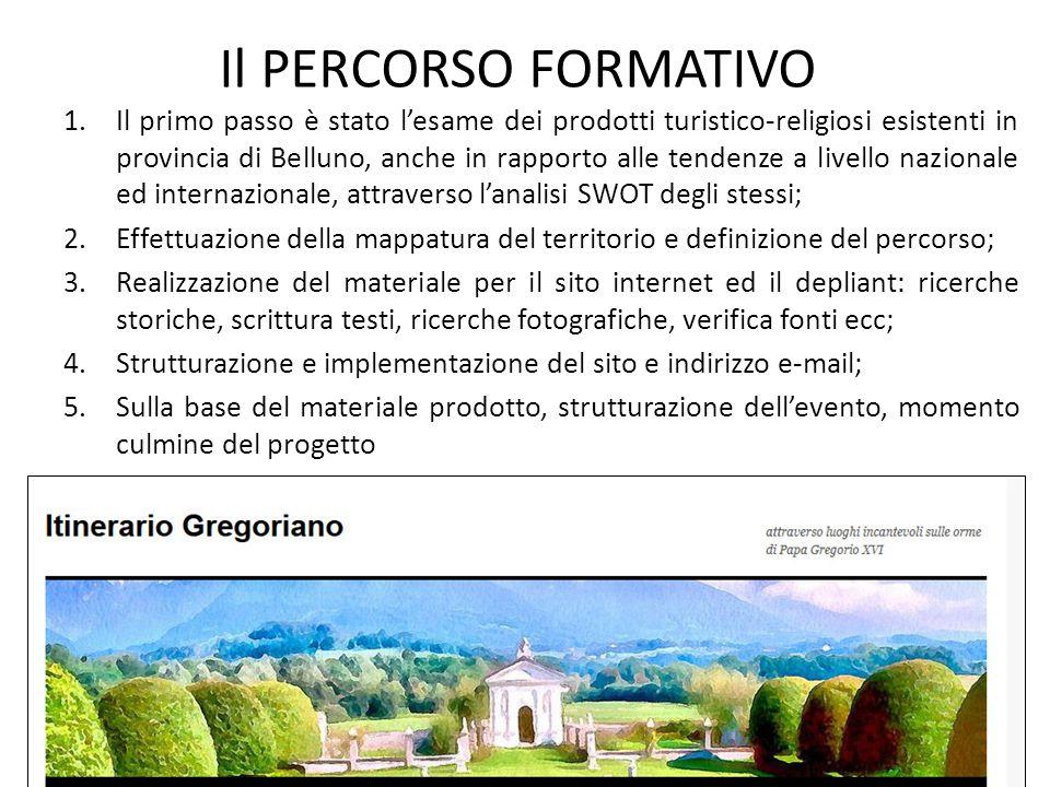 Il PERCORSO FORMATIVO 1.Il primo passo è stato l'esame dei prodotti turistico-religiosi esistenti in provincia di Belluno, anche in rapporto alle tend