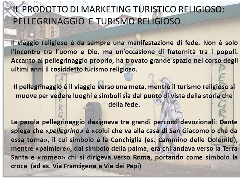 IL PRODOTTO DI MARKETING TURISTICO RELIGIOSO: PELLEGRINAGGIO E TURISMO RELIGIOSO Il viaggio religioso è da sempre una manifestazione di fede. Non è so
