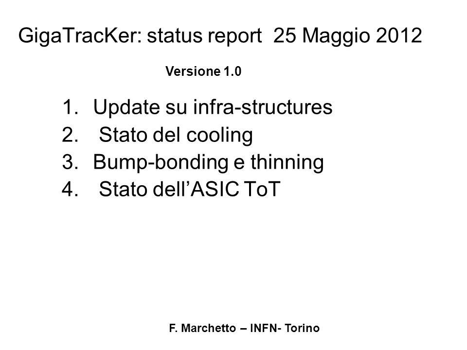 F. Marchetto – INFN- Torino GigaTracKer: status report 25 Maggio 2012 1.Update su infra-structures 2. Stato del cooling 3.Bump-bonding e thinning 4. S