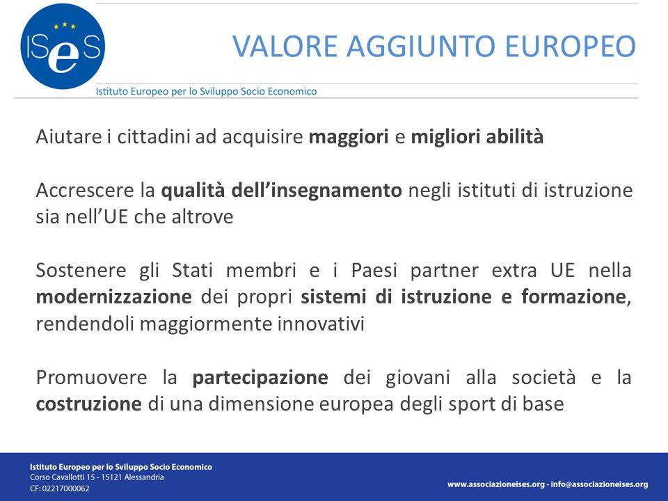 VALORE AGGIUNTO EUROPEO Aiutare i cittadini ad acquisire maggiori e migliori abilità Accrescere la qualità dell'insegnamento negli istituti di istruzi