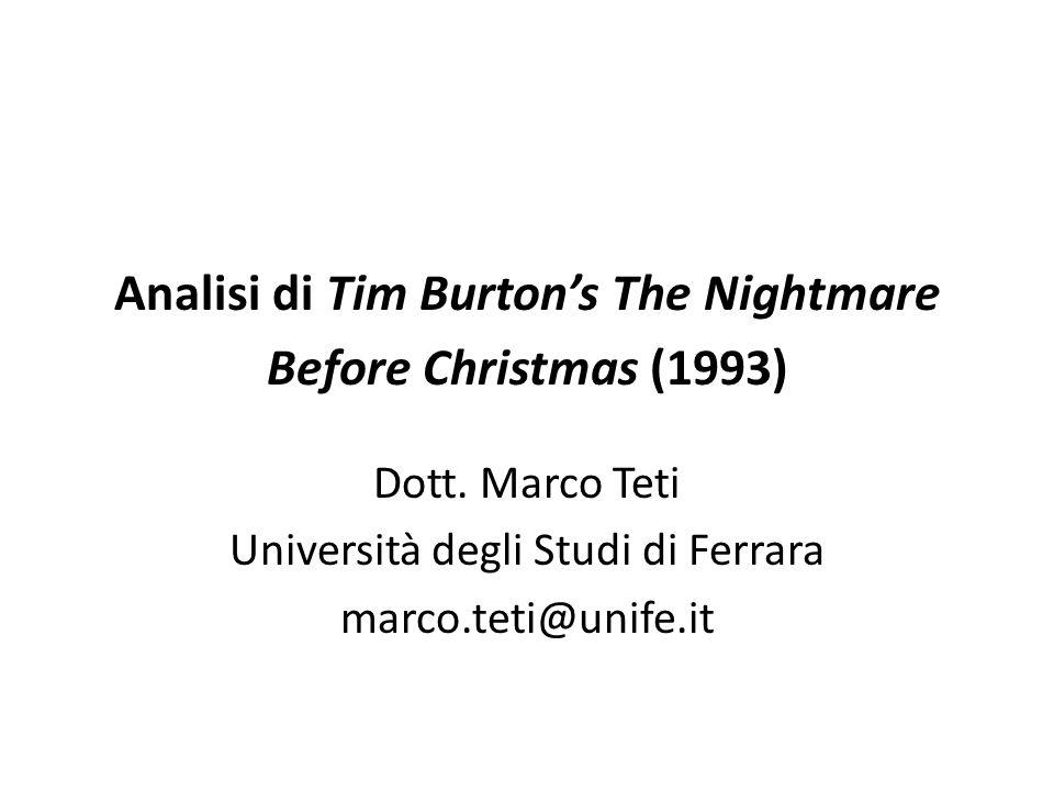 Analisi di Tim Burton's The Nightmare Before Christmas (1993) Dott.