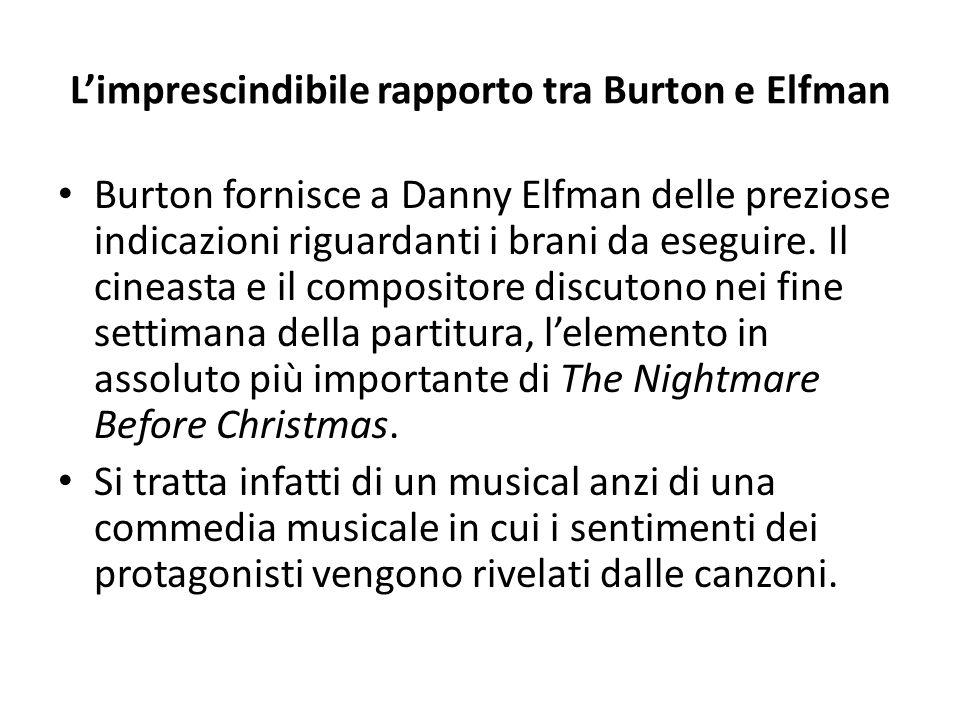 L'imprescindibile rapporto tra Burton e Elfman Burton fornisce a Danny Elfman delle preziose indicazioni riguardanti i brani da eseguire.