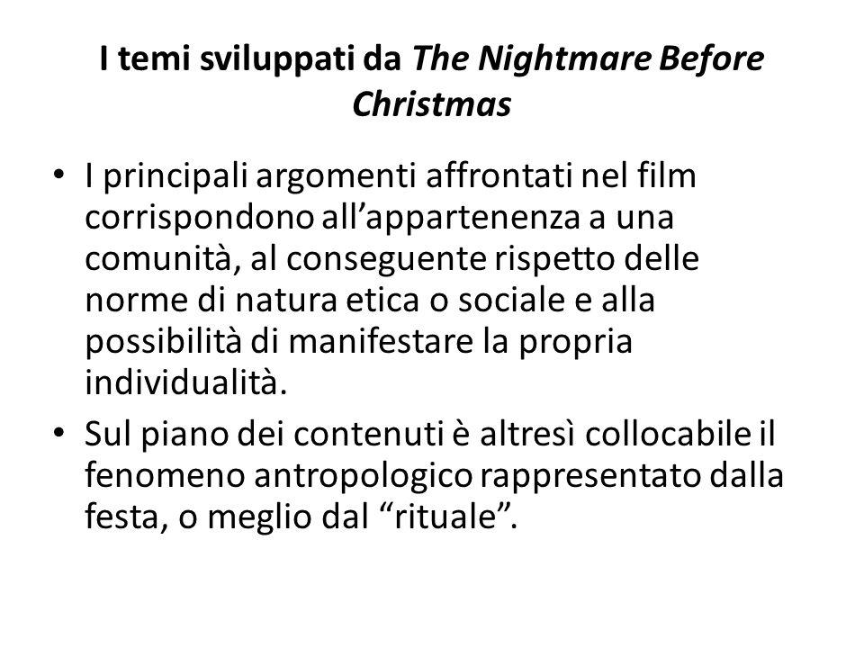 I temi sviluppati da The Nightmare Before Christmas I principali argomenti affrontati nel film corrispondono all'appartenenza a una comunità, al conseguente rispetto delle norme di natura etica o sociale e alla possibilità di manifestare la propria individualità.