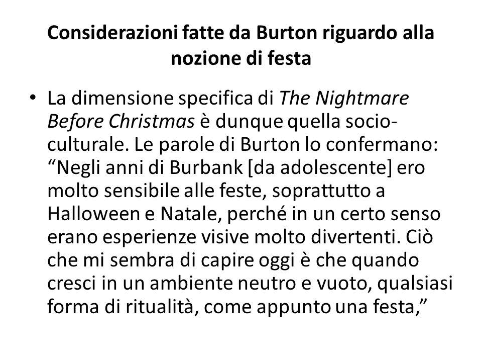 Considerazioni fatte da Burton riguardo alla nozione di festa La dimensione specifica di The Nightmare Before Christmas è dunque quella socio- culturale.