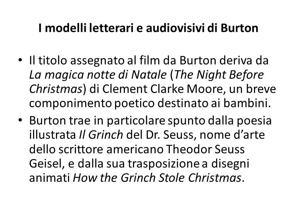 I modelli letterari e audiovisivi di Burton Il titolo assegnato al film da Burton deriva da La magica notte di Natale (The Night Before Christmas) di Clement Clarke Moore, un breve componimento poetico destinato ai bambini.