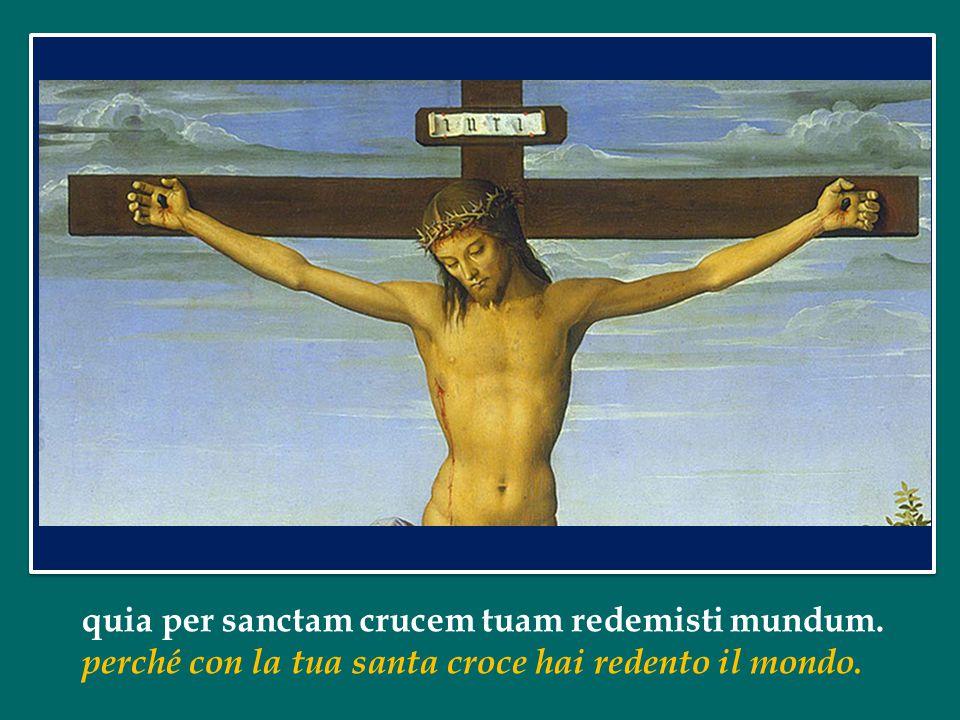 quia per sanctam crucem tuam redemisti mundum. perché con la tua santa croce hai redento il mondo.
