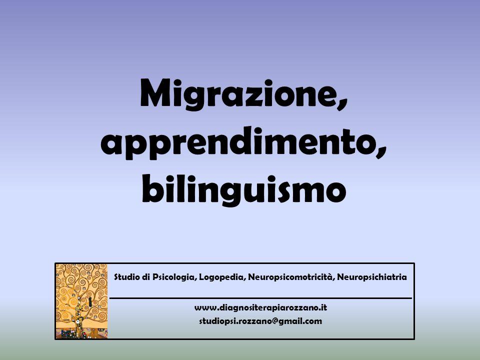 Migrazione, apprendimento, bilinguismo Studio di Psicologia, Logopedia, Neuropsicomotricità, Neuropsichiatria ________________________________________