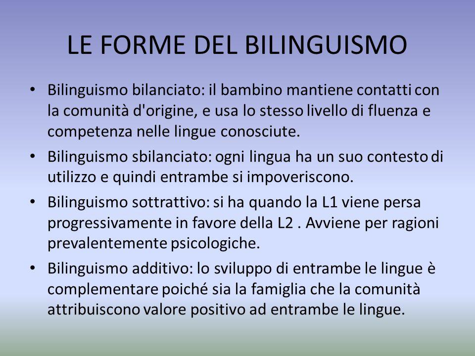 LE FORME DEL BILINGUISMO Bilinguismo bilanciato: il bambino mantiene contatti con la comunità d'origine, e usa lo stesso livello di fluenza e competen