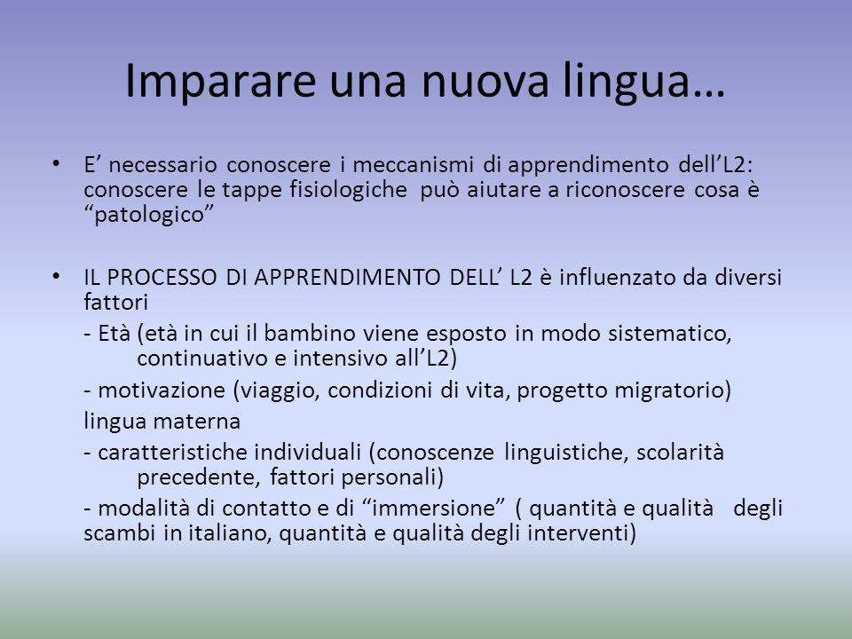Imparare una nuova lingua… E' necessario conoscere i meccanismi di apprendimento dell'L2: conoscere le tappe fisiologiche può aiutare a riconoscere co