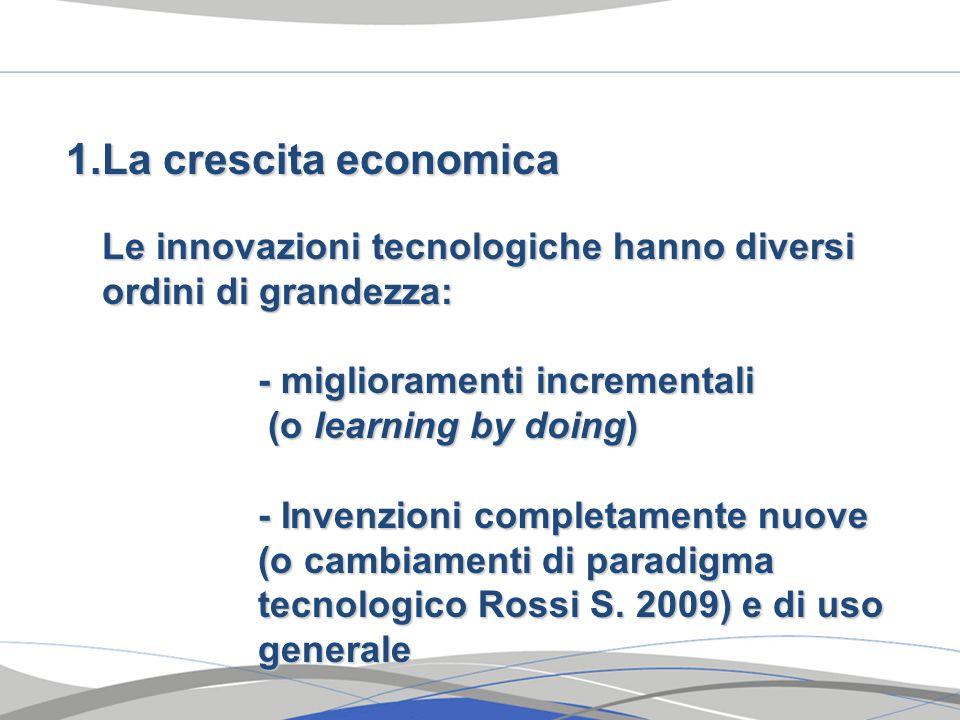 1.La crescita economica Le innovazioni tecnologiche hanno diversi ordini di grandezza: - miglioramenti incrementali (o learning by doing) (o learning by doing) - Invenzioni completamente nuove (o cambiamenti di paradigma tecnologico Rossi S.