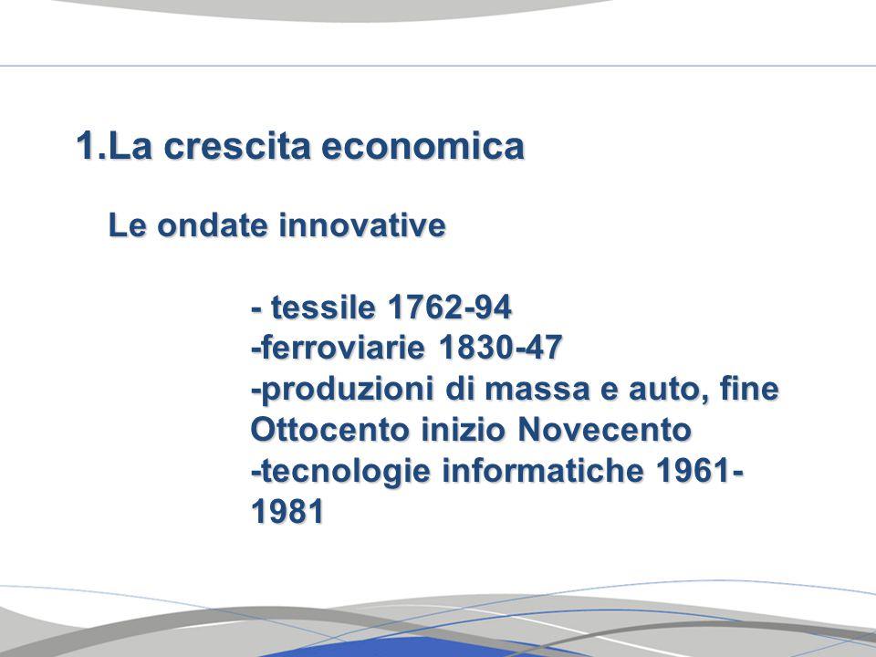 1.La crescita economica Le ondate innovative - tessile 1762-94 -ferroviarie 1830-47 -produzioni di massa e auto, fine Ottocento inizio Novecento -tecnologie informatiche 1961- 1981