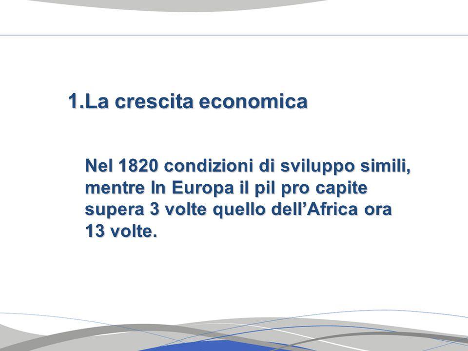 1.La crescita economica Nel 1820 condizioni di sviluppo simili, mentre In Europa il pil pro capite supera 3 volte quello dell'Africa ora 13 volte.