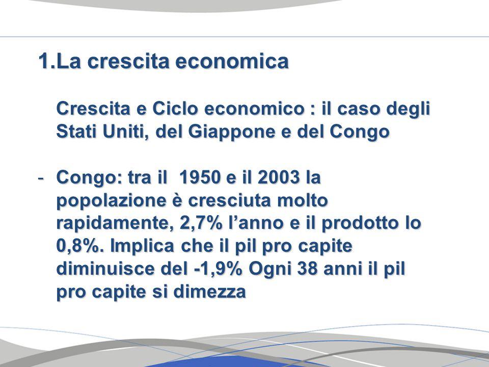 1.La crescita economica Crescita e Ciclo economico : il caso degli Stati Uniti, del Giappone e del Congo -Congo: tra il 1950 e il 2003 la popolazione è cresciuta molto rapidamente, 2,7% l'anno e il prodotto lo 0,8%.