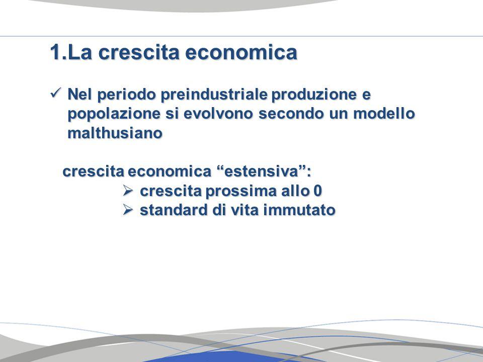 1.La crescita economica Nel periodo preindustriale produzione e popolazione si evolvono secondo un modello malthusiano Nel periodo preindustriale produzione e popolazione si evolvono secondo un modello malthusiano crescita economica estensiva : crescita economica estensiva :  crescita prossima allo 0  standard di vita immutato
