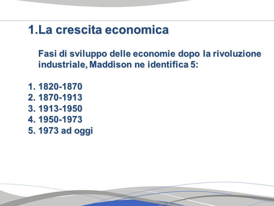 1.La crescita economica Fasi di sviluppo delle economie dopo la rivoluzione industriale, Maddison ne identifica 5: 1.1820-1870 2.1870-1913 3.1913-1950 4.1950-1973 5.1973 ad oggi