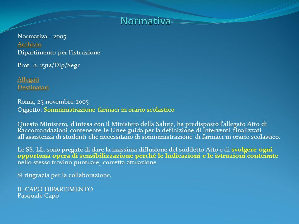 Normativa - 2005 Archivio Dipartimento per l'istruzione Prot. n. 2312/Dip/Segr Allegati Destinatari Roma, 25 novembre 2005 Oggetto: Somministrazione f