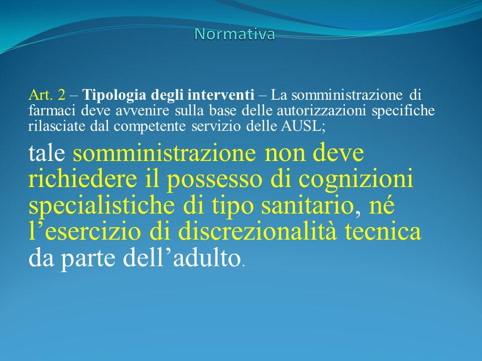 Art. 2 – Tipologia degli interventi – La somministrazione di farmaci deve avvenire sulla base delle autorizzazioni specifiche rilasciate dal competent
