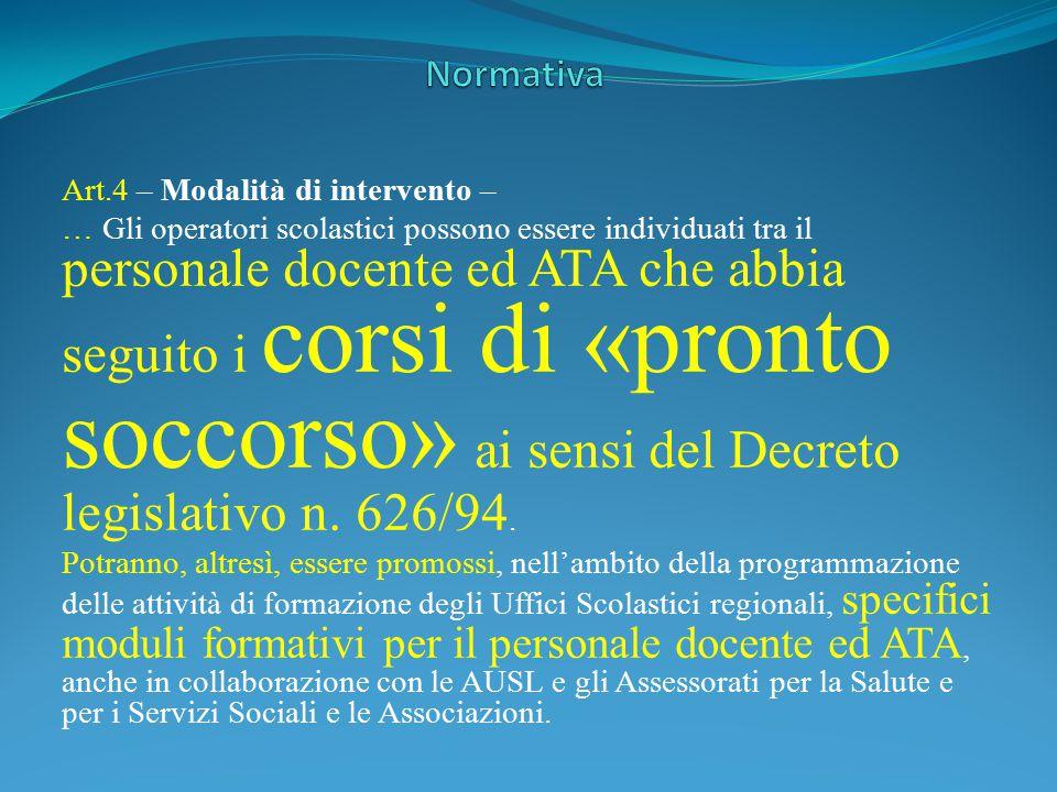 Art.4 – Modalità di intervento – … Gli operatori scolastici possono essere individuati tra il personale docente ed ATA che abbia seguito i corsi di «p
