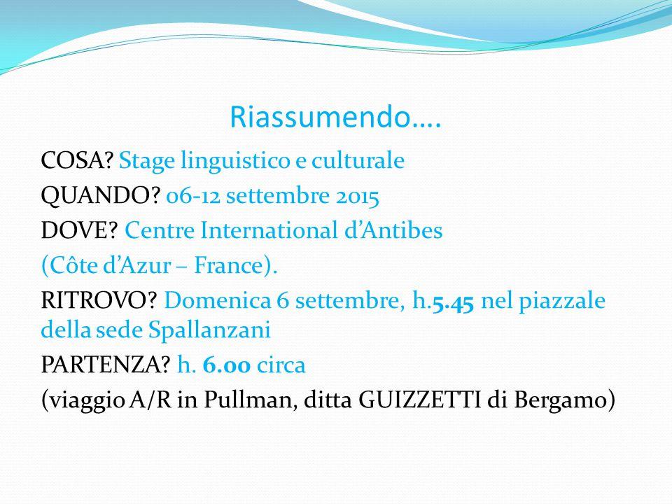 Riassumendo…. COSA. Stage linguistico e culturale QUANDO.