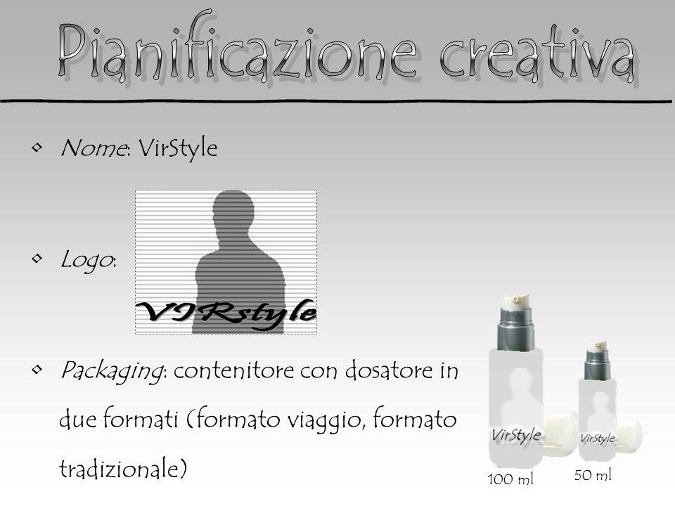 Nome: VirStyle Logo: Packaging: contenitore con dosatore in due formati (formato viaggio, formato tradizionale) 100 ml 50 ml