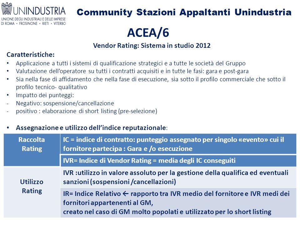 Community Stazioni Appaltanti Unindustria ACEA/6 Vendor Rating: Sistema in studio 2012 Caratteristiche: Applicazione a tutti i sistemi di qualificazio