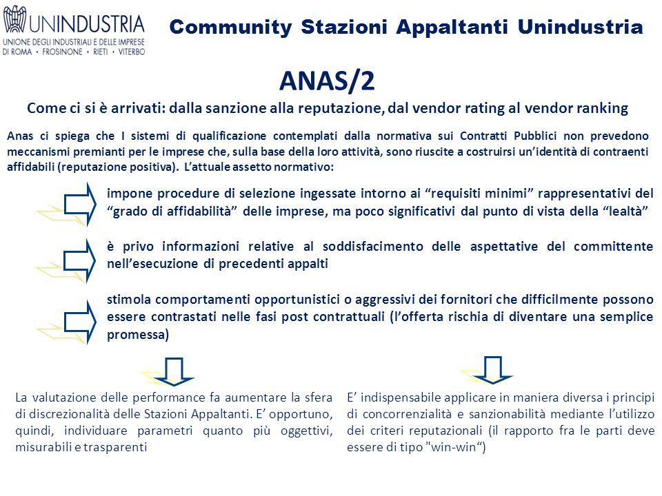 Community Stazioni Appaltanti Unindustria ANAS/2 Come ci si è arrivati: dalla sanzione alla reputazione, dal vendor rating al vendor ranking Anas ci s