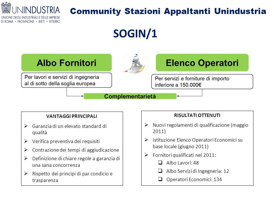 Community Stazioni Appaltanti Unindustria SOGIN/1 VANTAGGI PRINCIPALI  Garanzia di un elevato standard di qualità  Verifica preventiva dei requisiti