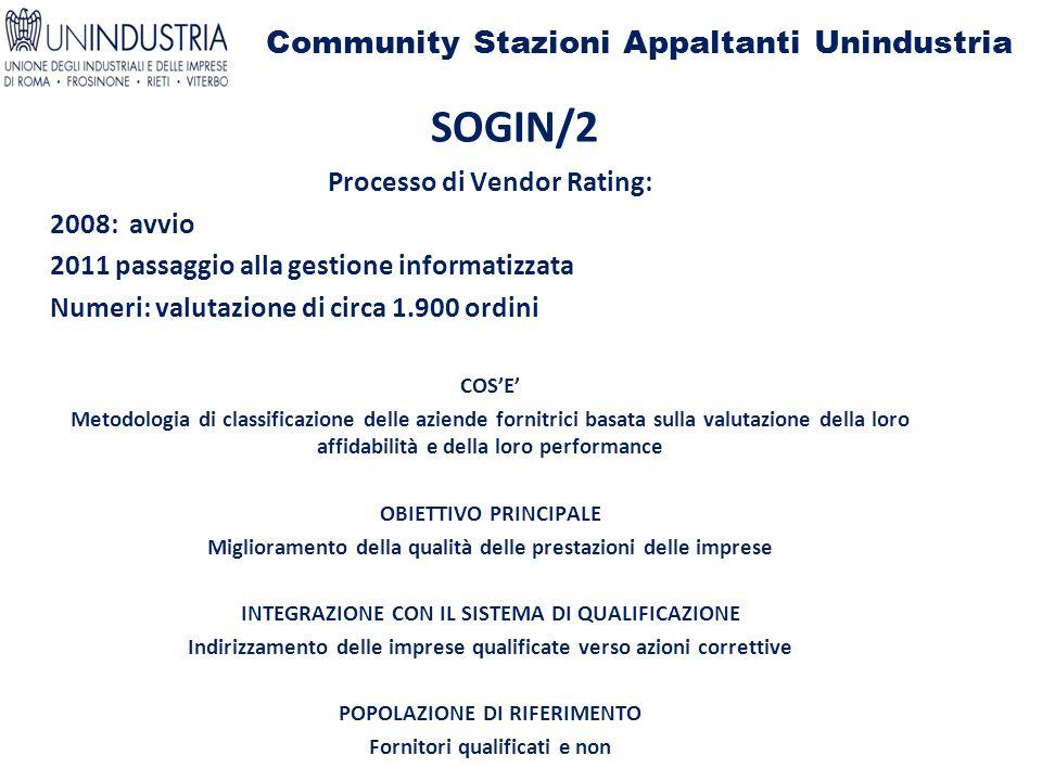 Community Stazioni Appaltanti Unindustria SOGIN/2 Processo di Vendor Rating: 2008: avvio 2011 passaggio alla gestione informatizzata Numeri: valutazio