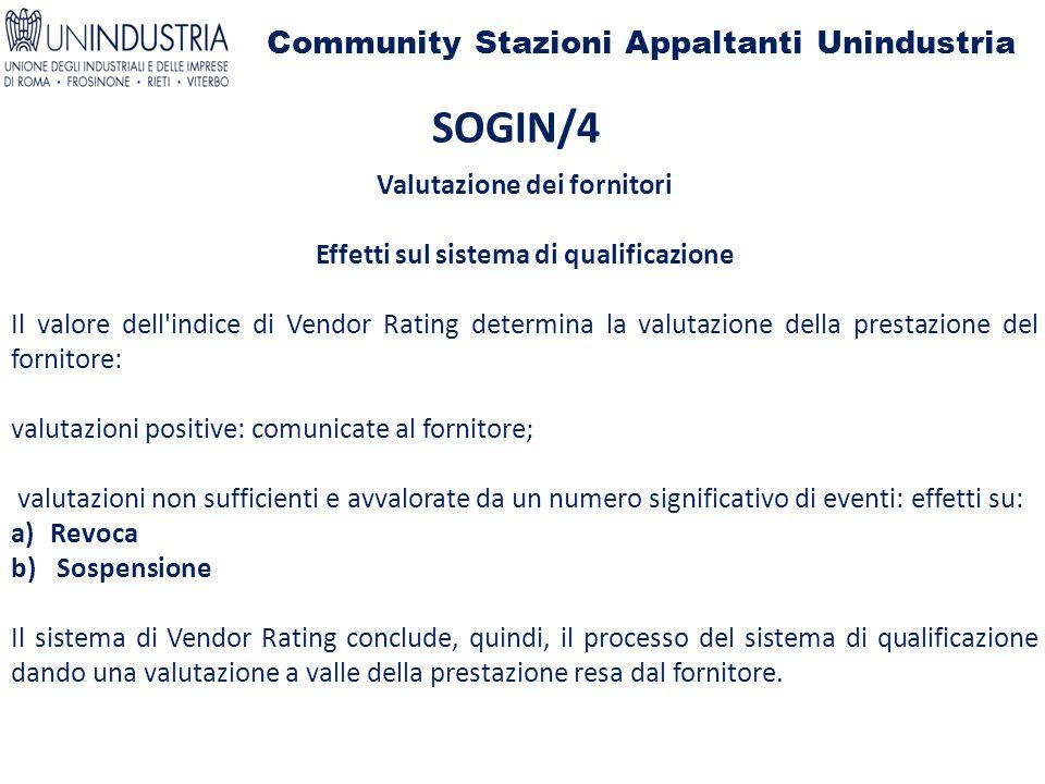 Community Stazioni Appaltanti Unindustria SOGIN/4 Valutazione dei fornitori Effetti sul sistema di qualificazione Il valore dell'indice di Vendor Rati